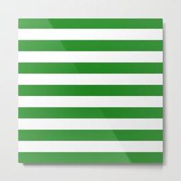 Horizontal Stripes (Forest Green/White) Metal Print