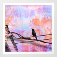 artsy Art Prints featuring Artsy Grackle by Angelandspot
