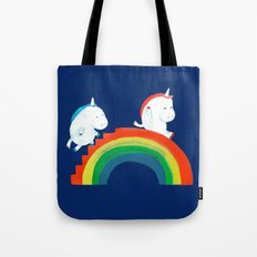 Unicorn on rainbow slide Tote Bag
