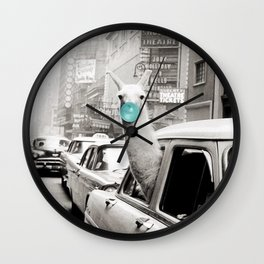 Mint Green Bubble Gum Llama taking a New York Taxi black and white photograph Wall Clock