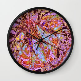 abstract composition with leaves Wall Clock