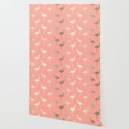 Gold Flamingo Pattern Coral Pink Wallpaper