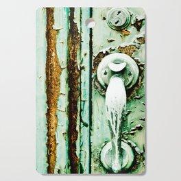 Green Door Handle, Peeling Turquoise Paint, Rusty Door Cutting Board