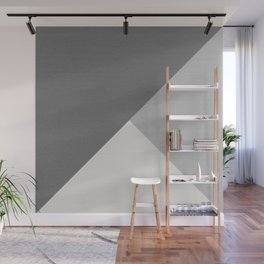 Tricolor Minimalist Smooth Grey Geometric Triangle Wall Mural