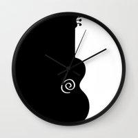 guitar Wall Clocks featuring Guitar by Macrobioticos