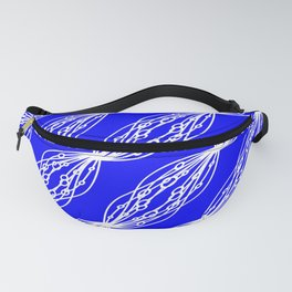 White molecular helix with diagonal circles on a blue sea background. Fanny Pack