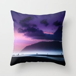 Spectacular Majestic Starry Sky Above Cannon Beach Oregon United States Ultra HD Throw Pillow