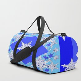 DECORATIVE BABY BLUE SNOW CRYSTALS BLUE WINTER ART Duffle Bag