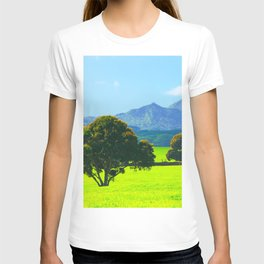 green tree in the green field with green mountain and blue sky background T-shirt