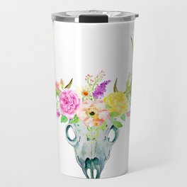 Watercolor Deer Skull Rose Bouquet Travel Mug
