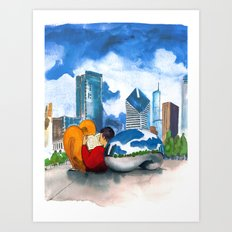 Cloud Gate with Reader Art Print