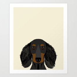 Doxie Portrait - Black and Tan Longhaired dog design - cute dachshund face Art Print