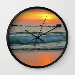 Golden sunset with turquoise waters Wall Clock