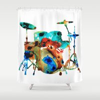drums Shower Curtains featuring The Drums - Music Art By Sharon Cummings by Sharon Cummings