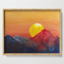 Dramatic Watercolor Sunset in the Mountains Serving Tray