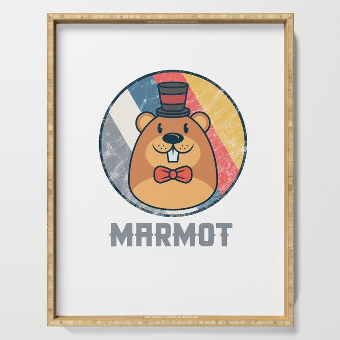 Vintage Cute Wildlife Marmot Colorful Retro Animals Serving Tray