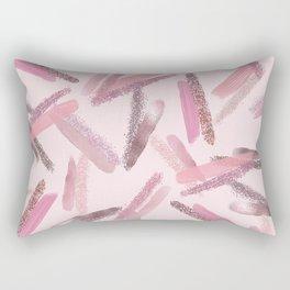 Pink Rose Gold Paint Glitter Brushstrokes Pattern Rectangular Pillow