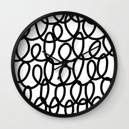 Loop the Loop / Black on white Wall Clock