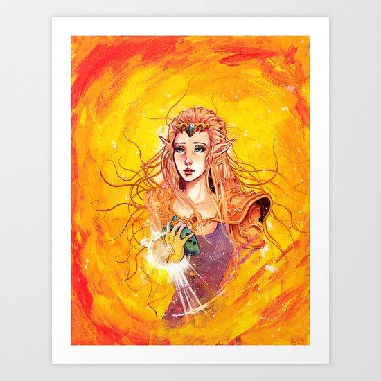 Princess Zelda - Copic Marker and Acrylic Art Print