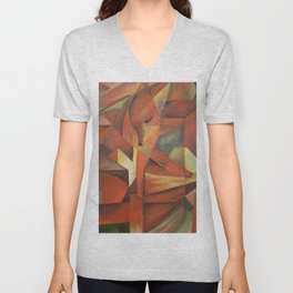 Foxes - Homage to Franz Marc (1913) Unisex V-Neck