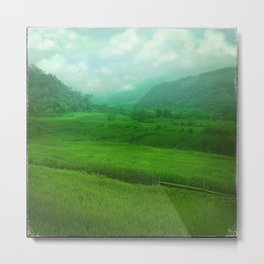 Tropical Winter, Green Jade Metal Print