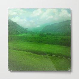 Tropical Winter, Green Jade Metal Print
