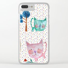 Polka Dot Cats Clear iPhone Case