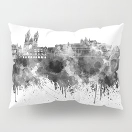 Prague skyline in black watercolor  Pillow Sham