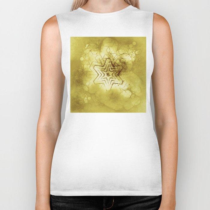 Star mandala in gold Biker Tank