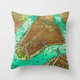 Retro New York Print Throw Pillow