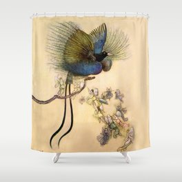 """""""The Beautiful Bird of Paradise"""" Art by Warwick Goble Shower Curtain"""