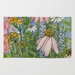 Garden Flowers Bee Blue Sky Nature Art Floral Watercolor Print Rug