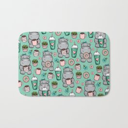Hippopotamus, Hippo Print, Cute Little Hippo, Donuts and Coffee, For Girls Bath Mat