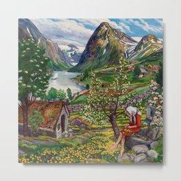 Alpine Lake Landscape, 'Girl, Springtime & Marigolds' by Nikolai Astrup Metal Print