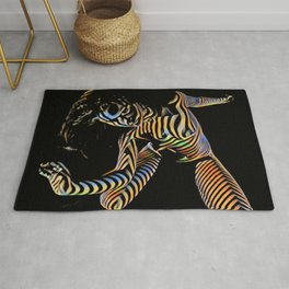 9911s-JPC Abstract Color Stripe New Art Nude Woman Rug