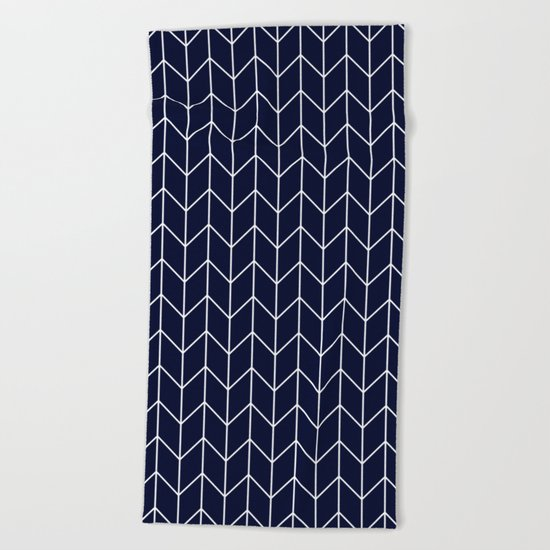 Chevron pattern -  white on darkblue Beach Towel