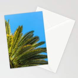 Palm Tree View from Below Against Clear Sky Stationery Cards