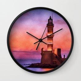 Lighthouse, Greece, Sunset Wall Clock