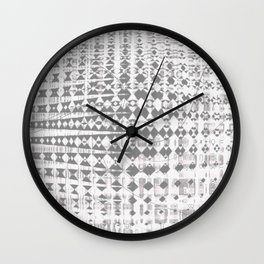 Grey twirl lines and diagonal shapes on messy background Wall Clock
