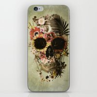 garden iPhone & iPod Skins featuring Garden Skull Light by Ali GULEC