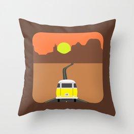 On the road (Yellow van) Throw Pillow