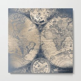 Antique World Map White Gold Navy Blue by Nature Magick Metal Print