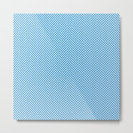 Small Pale Blue & White Herringbone Pattern Metal Print
