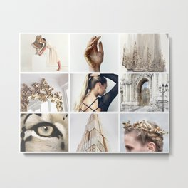 White and Gold Minimalistic Moodboard Metal Print
