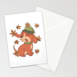 Cute dog in autumn with hat Stationery Cards