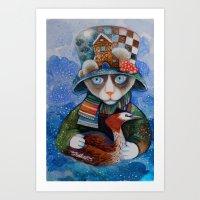 elvis Art Prints featuring Elvis by oxana zaika
