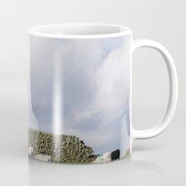 Sheep beside a drystone wall at sunset. Derbyshire, UK. Coffee Mug