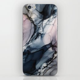 Blush, Navy and Gray Abstract Calm Clouds iPhone Skin