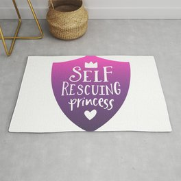 Self Rescuing Princess - Feminist Quote Pink Purple Rug