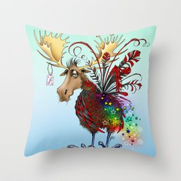 Lesser Spotted Spangle Moose Throw Pillow